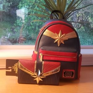 Loungefly Captain Marvel Mini Backpack & Wallet